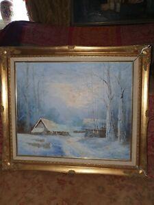 Gold Framed Luminous Winter Scene Oil Painting Signed Chapell