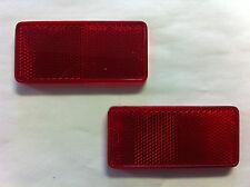 "2 ""MINI"" Red Rectangle Reflectors, Self Adhesive, Installs in secs"