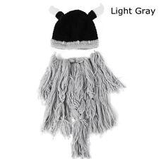 Men Fashion Viking Beard Hat Barbarian Vagabond Knit Cool Beanie Horns Beard Cap