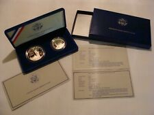 US 1886 -1986 S Liberty Coins Ellis Island Silver Dollar & Half Dollar Proof Set