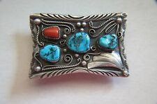 Vintage Sterling Turquoise & Coral Indian Buckle
