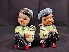 Kitsch Chinese Costume Ceramic Oriental Lantern Girl Boy Salt & Pepper Shakers