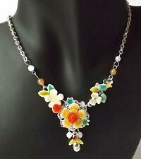 Blumen Kette Halskette Collier Blüten Vogel Strass Emaille Perlen bunt silber