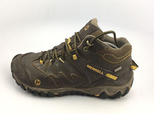 Merrell Men's Mid Hiking Boots j24607 All Out Blaze Brown/ Yellow Sz 9.5