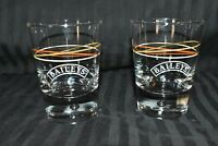 Set of Bailey's Irish Cream Whiskey Glasses with Bubble Base and Colored Swirl