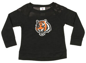 NFL Girls Youth Cincinnati Bengals Streaky Performance Sweatshirt Top, Black