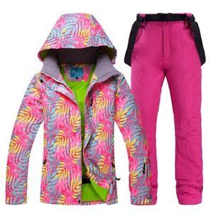 Ski Suit Women Thick Warm Waterproof Windproof Snowboarding Jacket Pants Set