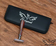 Mens Heavy Duty Double Edge Safety Razor Wooden Multi + Free Pouch + Blades