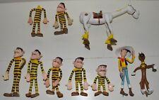 Lot de 9 figurines flexible LUCKY LUKE DALTONS JOLLY JUMPER RANTANPLAN CEJI 1984