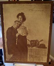 Vintage R. Hendrickson Sepia Print Boudoir Dr's Listening Heart Beat Bare Chest