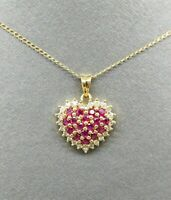 Women's 1CT Ruby & Diamond Cluster Heart Pendant Necklace 14K Yellow Gold Finish