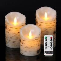 3 Pcs Flameless Birch LED Candles Moving Luminara Real Wax Battery Remote Timer
