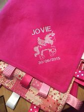 XL UNICORN PERSONALISED COT/PRAM TAGGY BLANKET/GIFT **MANY OPTIONS**