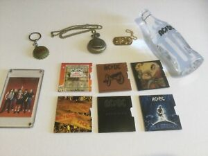 ACDC Collectors Lot Coins + Solid Lead Crystal Bottle + Watch