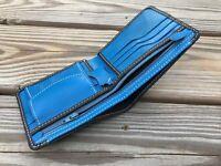 Supreme Leather Wallet Blue/Black Men Card Holder Handmade Bifold Purse