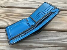 Leather Wallet Blue/Black Men Card Holder Handmade Bifold Purse Multi CardHolder
