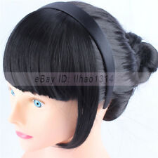 Natural Hair Bangs with a Hairband Sides Long Hair Invisible Synthetic Fringes