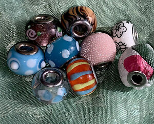 Vintage Silver Glass Unique Colorful Beads Rare Beaded Tiger Stripes Flower 9pc
