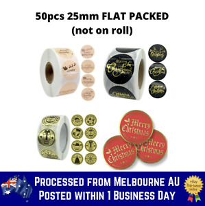50pcs 25mm Merry Christmas Sticker Thank You Business Gold Sticker Round Seal