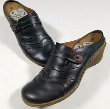 Romika Black Leather Slip On Mules Shoes Size 40 Women's 9.5