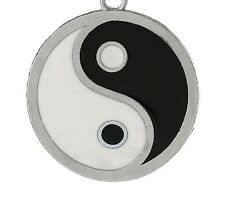 BLACK & SILVER 3D GRANDI Ying & Yang CIRCOLARE A Clip Pendente / charm-silver ALOY
