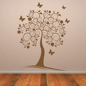 Spiral Tree with Butterflies Wall Art Sticker Vinyl Decal X-Large (AS10050)