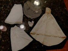Vtg 1960s 1970s Barbie Hand Beaded Ivory Satin Formal Wedding Gown & Veil Lot