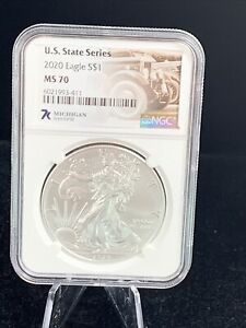 7k Label MS70 Silver Eagle US State Series 1oz NGC Graded Michigan