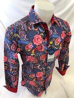 Mens SUSLO COUTURE BRIGHT FLORAL PAISLEY Design Shirt SLIM FIT MULTI COLOR 602-8