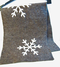 Arcadia Home 16 x 44 Table Runner Felted 100% Wool Snowflakes Bark Brown Ivory