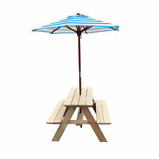 Kids Picnic Outdoor Portable Folding Camping Table With Umbrella Bench Set New