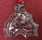 """ORREFORS crystal 1990 Christmas Ornament - Holly Leaves & Berries - 3"""" no box"""