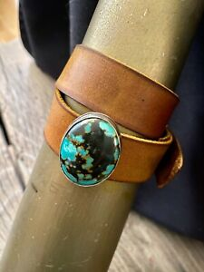Turquoise Concho Leather Cuff Bracelet  * Customized To Fit Your Wrist  $495 *