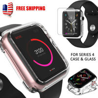 Apple Watch iWatch Series 4 Silicone Clear Case Cover+ Tempered Glass 40/44MM