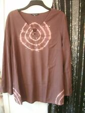 EVANS EAST COAST SIZE 20 CHEST 50INS BEAUTIFUL BROWN TYE-DYE TUNICTOP FREE-P/P