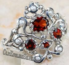 Fire Garnet & Pearl 925 Solid Sterling Silver Edwardian Style Ring jewelry Sz 7