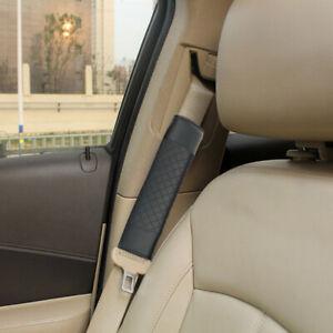 2pcs Black Car Safety Belt Covers PU Leather Seat Belt Shoulder Pads Accessories