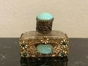 Vintage Czech Jeweled Glass Filigree Floral Perfume Bottle