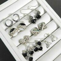 Vintage Lot 6 Earrings Assorted Bali Dangle Stud Solid 925 Sterling Silver Black
