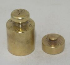 Greece Antique Brass Balance Scale Weights 100 & 500 grams w/1968-1971 stamps