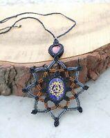 Macrame Reiki Healing Necklace Blue Lapis Chakra Stone Handmade Pendant Jewelry
