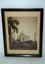 "Vintage Taj Mahal Photo Photograph Linen Framed 7x8.25"""