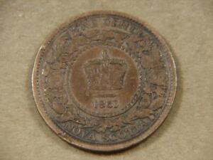 1861 Nova Scotia 1 Cent Coin