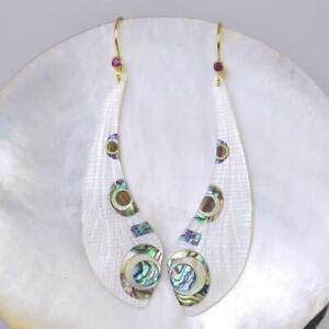 Dragonfly Wing Mother-of-Pearl Inlay Vermeil Sterling Ruby Hook Earrings 4.17 g