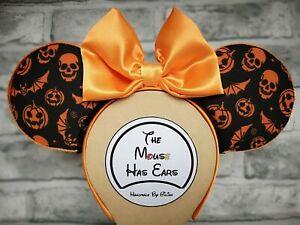 Custom Disney Mickey Mouse ears Halloween Pumpkin, Bat, skull - Black and Orange