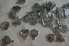 10 Filigree Heart Connectors 18x14mm Ant. Silver #3983 Combine Post-See Listing