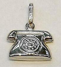New 14k White Gold TELEPHONE Charm--Free Shipping!