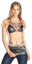 Faux Real Women's Black Leather And Tattoos Contemporary Missy T-Shirt, Multi,