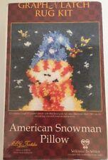 "American Snowman Pillow Welcome To Winter Latch Hook Kit #37705 12""x12"" Nib"
