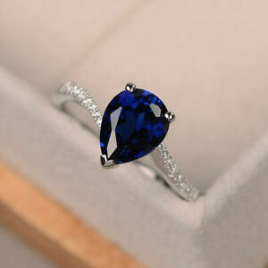 1.70 Ct Genuine Diamond Engagement Ring 14K Real White Gold Sapphire Size N P Q